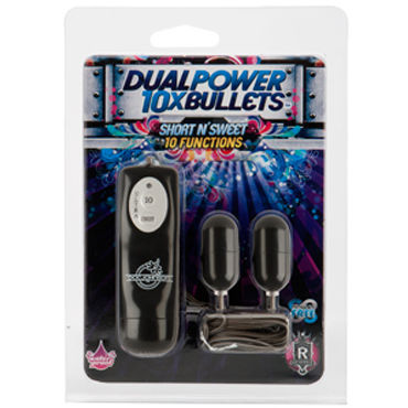 Doc Johnson Short n' Sweet Dual Power Bullets Два виброяйца с пультом ДУ