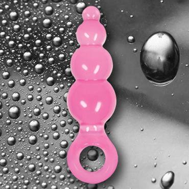 NS Novelties Jolie Ripples, розовый Анальная пробка мини с держателем