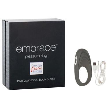 California Exotic Embrace Pleasure Ring, серый, Эрекционное виброкольцо с usb-зарядкой