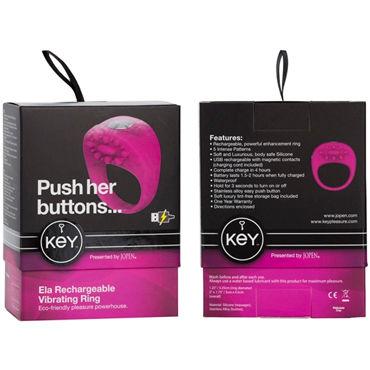 Jopen Key Ela, розовый Виброкольцо с перезаряжаемым аккумулятором