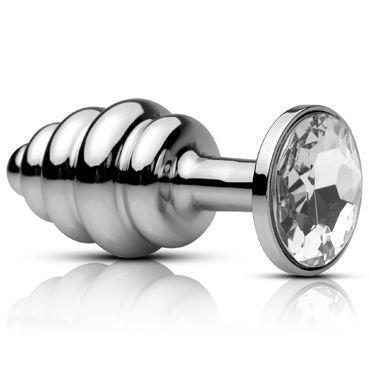 Pipedream Metal Worx Mini Ribbed Plug Маленькая анальная втулка с кристалом