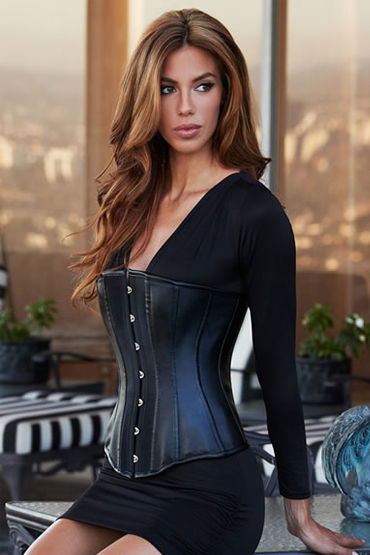 Baci Essential Satin & Leather Corset, ������������ ������ �� ��������� - ������ S