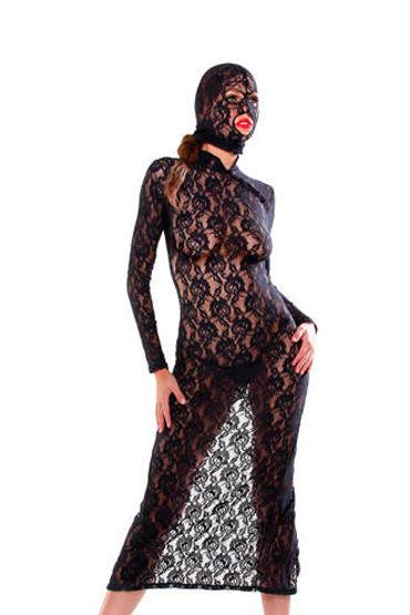 Fetish Fantasy Lingerie Lace Disgrace, Кружевное платье с маской - Размер Универсальный (XS-L)