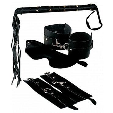 Pipedream Premium Leather Bondage Наручники, наножники, маска, плетка