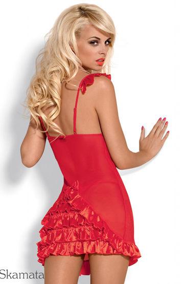 Obsessive Electra, красный Сорочка и трусики с оборками