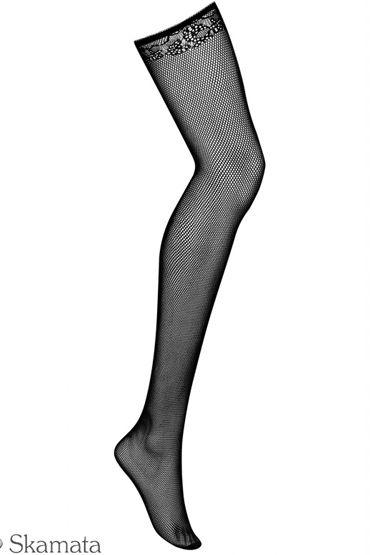 Obsessive Lustella, черный Чулки в мелкую сетку