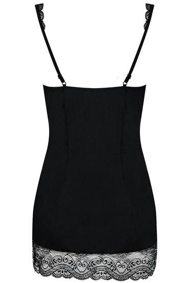 Obsessive Miamor, черный Сорочка с кружевной отделкой и трусики
