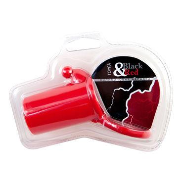 ToyFa Black&Red Насадка на пенис, красная С клиторальным стимулятором и кольцом для мошонки вибромассажер toyfa black