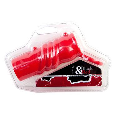 ToyFa Black&Red Насадка на пенис, красная С клиторальным стимулятором вибромассажер toyfa black