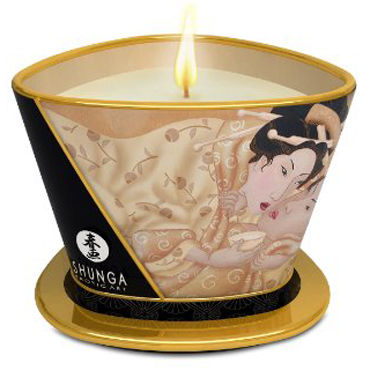 Shunga Massage Candle Vanilla Fetish, 170мл Массажная свеча, ванильный фетиш shunga massage candle intoxicating chocolate 170мл массажная свеча пьянящий шоколад