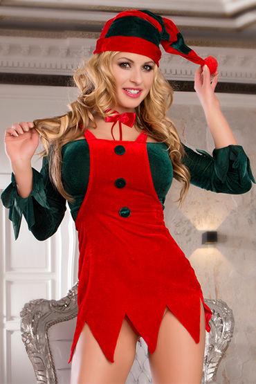 Candy Girl Помощница Санты Топ, юбка, галстук, колпачок и стринги сорочка и стринги obsessive bride chemise размер l xl цвет красный