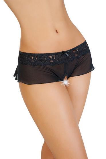 Erolanta Эротические трусики-юбочка, черные Из стрейч-сетки erolanta эротические трусики черные из стрейч сетки