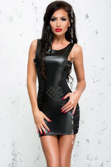 Me Seduce Lea, черное Платье из экокожи на молнии эрекционное кольцо oxballs unit x stretch cocksling black os