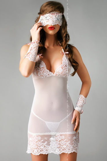 Me Seduce Bianca, белая Ночная сорочка, стринги, маска и манжеты erasexa фаллоимитатор рыцарь коричневый большого размера