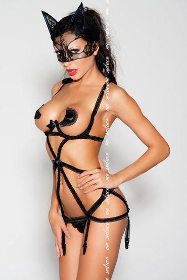 Me Seduce Keri, черная Комбинация с пажами для чулок и стринги flirt on evette изящный бюстгальтер и стринги