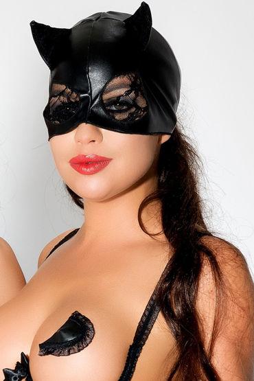 Me Seduce Маска с ушками, черная С кружевом в вырезах для глаз портупея me seduce harness 3 white s m