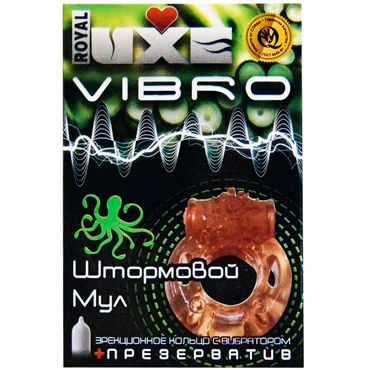 Luxe Vibro Штормовой Мул, оранжевое Комплект из виброкольца и презерватива podium ошейник ортопедический неподшитый