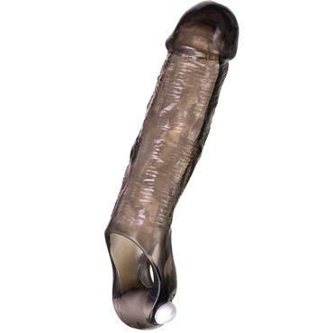ToyFa Xlover Penis Extender, черная Реалистичная насадка с петлей для мошонки и вибрацией toyfa насадка розовая с шариками и щеточкой