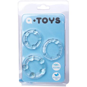 Toyfa A-toys Набор колец, прозрачные Со стимулирующими шариками кожаные эрекционные кольца регулируемый увеличитель пениса улучшение эрекции безопасный бондаж 470012s