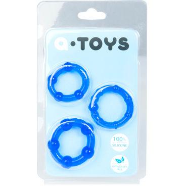 Toyfa A-toys Набор колец, синие Со стимулирующими шариками кожаные эрекционные кольца регулируемый увеличитель пениса улучшение эрекции безопасный бондаж 470012s