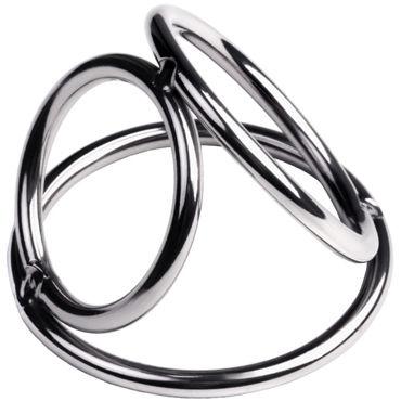 Toyfa Metal Бондаж для пениса M, серебристый Из металлических колец кожаные эрекционные кольца регулируемый увеличитель пениса улучшение эрекции безопасный бондаж 470012s
