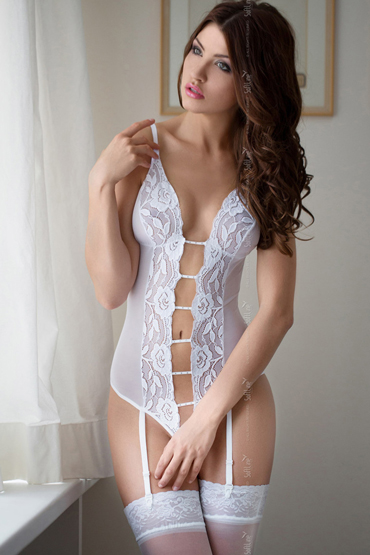 SoftLine Tina, белое Боди с подвязками для чулок боди softline collection gabi
