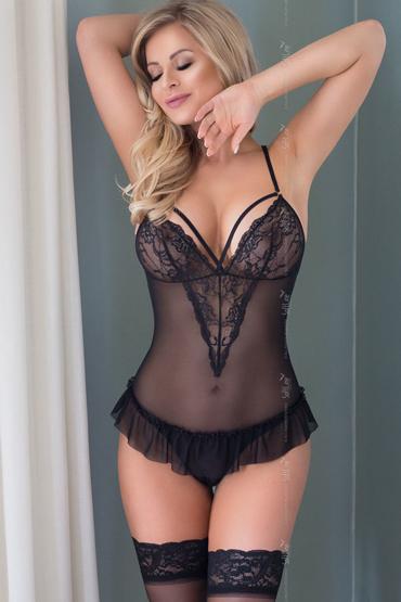 SoftLine Emily, черное Боди с юбочкой и открытой спинкой боди softline collection gabi