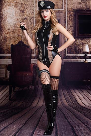 Candy Girl Raven, черный Костюм полицейской: боди, головной убор, митенки, подвязка, чулки, рация anne d ales erica stockings красные чулки в крупную сетку