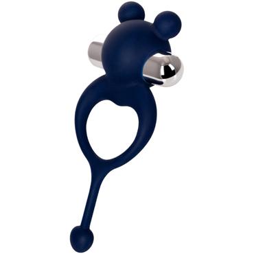 JOS Mickey, синий Виброкольцо с хвостиком вибронасадка renegade ball tugging stroker blue с фиксацией на мошонке с внутренним рельефом синий