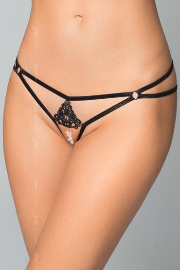 Soft Line Стринги с кужевной вставкой, черные Из тонких лент с доступом soft line чулки черные на кружевной резинке