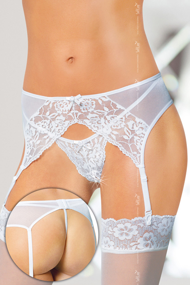 купить Soft Line Открытые трусики и пояс для чулок, белые С кружевным декором по цене 2413 рублей