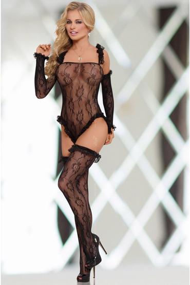 Soft Line Костюм-сетка с рисунком, черный Украшенный рюшами р hjnbxtcrbt маски soft line