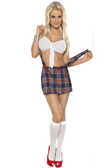 Roxana Школьница Топ, юбка с бретельками и гольфы подвязка roxana атласная черная xl xxxl