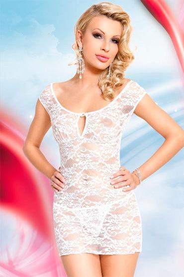 Soft Line комбинация, белая Сорочка с цветочным кружевом soft line комплект белый сорочка на бретельках и стринги