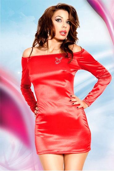 Soft Line Tyler, красный Платье с открытыми плечами, длинный рукав casmir linda corset