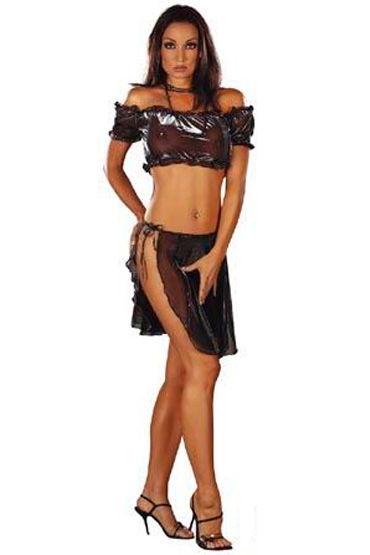 Roxana Gypsy, комплект, черный Прозрачный, юбка на завязках стринги бикини и трусики танга размер универсальный плюс