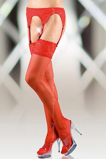 Soft Line комплект, красный Кружевной пояс и чулки beastly маска черная с отстегивающимися элементами