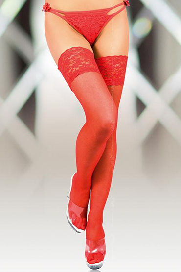 Soft Line чулки, красные C широкой резинкой чулки soft line в крупную сетку красные xxl