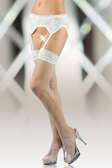 Soft Line комплект, белый Пояс и чулки в сетку viamax tight gel 2 vk 8