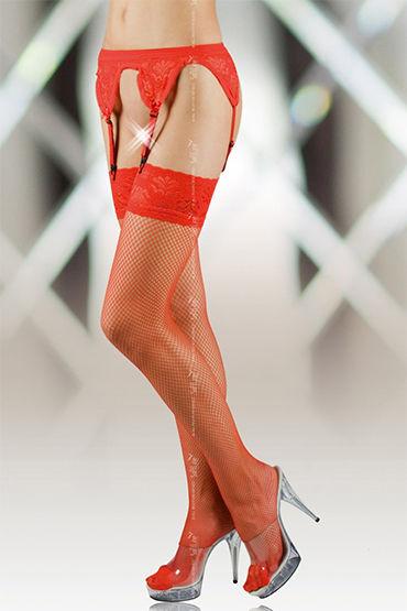 Soft Line комплект, красный Пояс и чулки в сетку podium комплект для фиксации упряжь на тело
