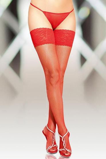 Soft Line чулки, красные В сеточку, со швом чулки soft line в крупную сетку красные xxl