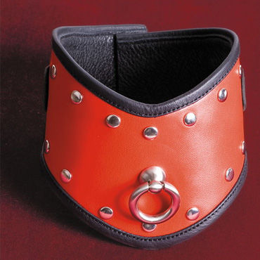Toyfa-leather ошейник, красный Кожа, с заклепками