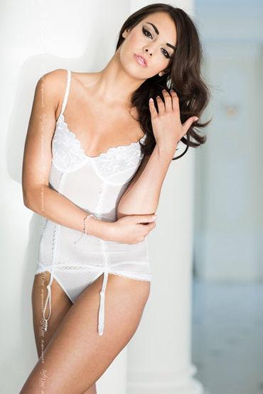 Soft Line комплект, белый Полупрозрачный корсет и стринги soft line комплект белый корсет и стринги украшенные бантиками
