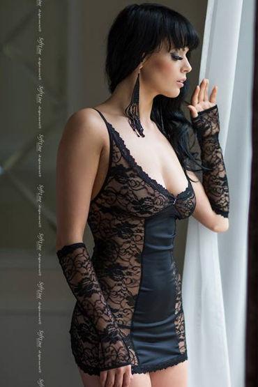 Soft Line комплект, черный Сорочка со шнуровкой сзади, стринги и перчатки soft line ночная сорочка и стринги черные прозрачная лиф отделан кружевами