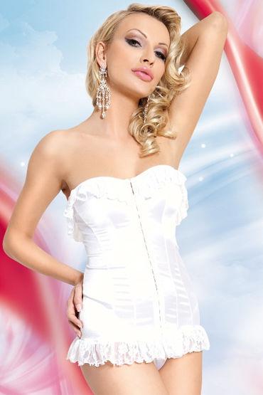 Soft Line комплект, белый Стринги и корсет с кружевными оборками боди obsessive alluria s m