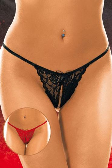 Soft Line трусики, черные Кружевные, с разрезиком черный пеньюар florence xxl 3xl
