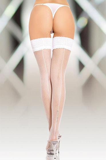 Soft Line чулки, белые В сеточку, со швом чулки temptlife белые os