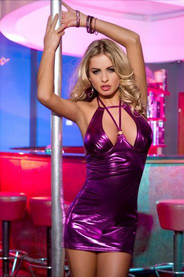 Candy Girl платье, фиолетовое Из блестящей ткани, с открытой спиной