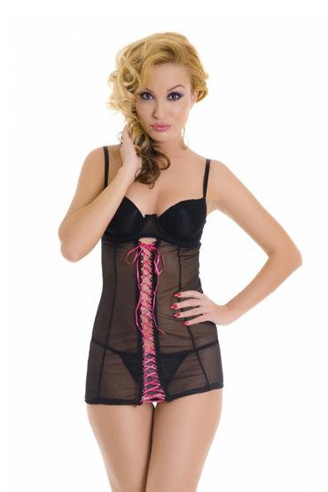 Erolanta комплект, черный Комбинация со шнуровкой и стринги erolanta комплект корсет с оборкой и стринги размер s