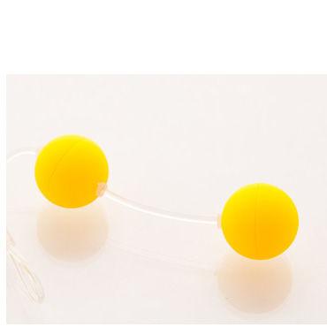 Sexus шарики вагинальные 11 см, желтые Без вибрации, гладкие вагинальные шарики sexus funny five зеленые 11 см